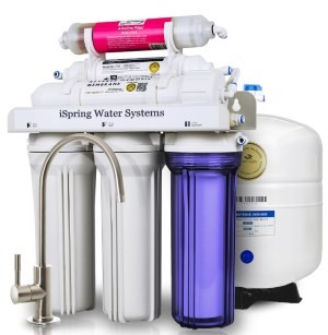 iSpring #RCC7AK 6-stage 75 GPD Reverse Osmosis Water Filtration System with Alkaline pH Filter and Brushed Nickel Faucet